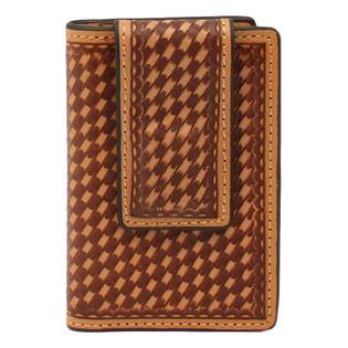 "3D Western Money Clip Men Leather Bifold 2 7/8"" x 4 1/8"" Natural Magnetic Clip"