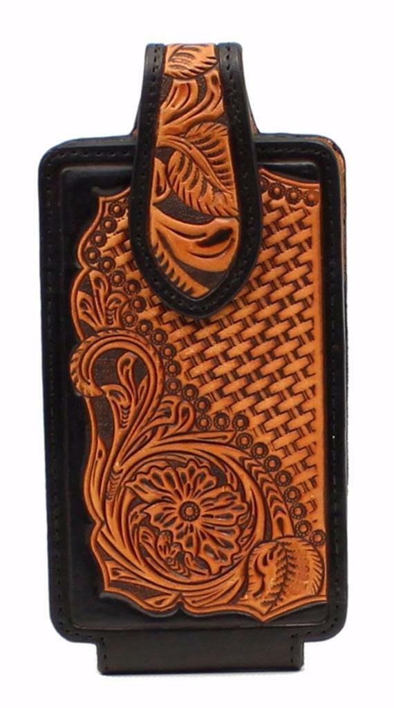 NOCONA Cell Phone Case Holder Floral Medium Tooled Embossed Black/Tan