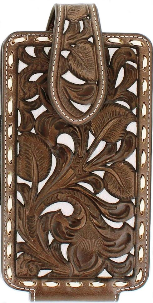 Western Brown & Tan Tooled Cell Phone Holder for iPhone 6+/7+/8+