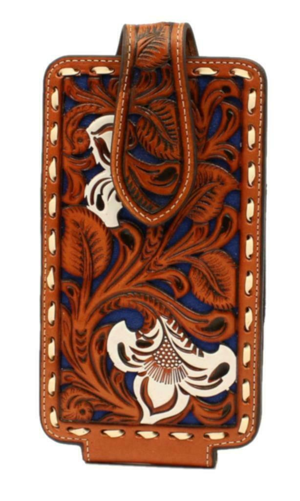 NOCONA Phone Case Holder Leather Floral Embossed Pierced Laced Tan