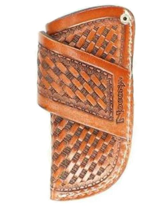 Basket Weave Leather Pocket Knife Sheath - Brown