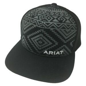 Ariat Black/Grey Men's Aztec Design Baseball Cap