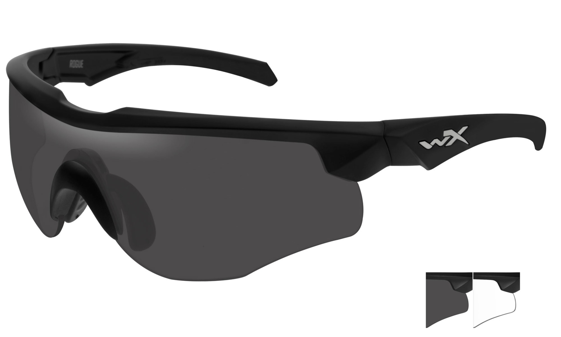 WILEY X WX Rogue Shooting Glasses  Grey Lens Black Frame