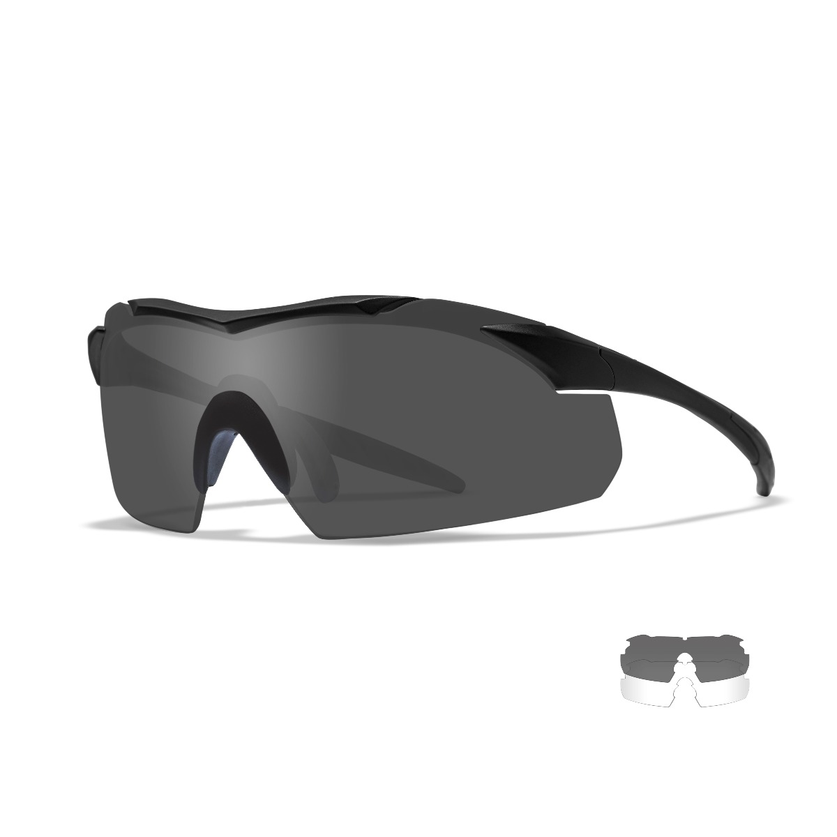 WILEY X Vapor Sun/Safety Glasses Black Frame with Smoke/Clear Lenses