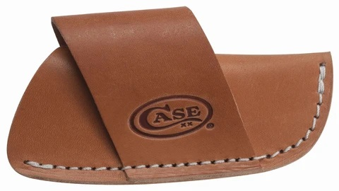 This genuine leather sheath is designed to fit the pocket knife in sideways. It can fit almost all large Case patterns. Great for protecting and storing your pocket knife for quick and easy access. Comes packaged in a poly bag with zip lock. Proudly made