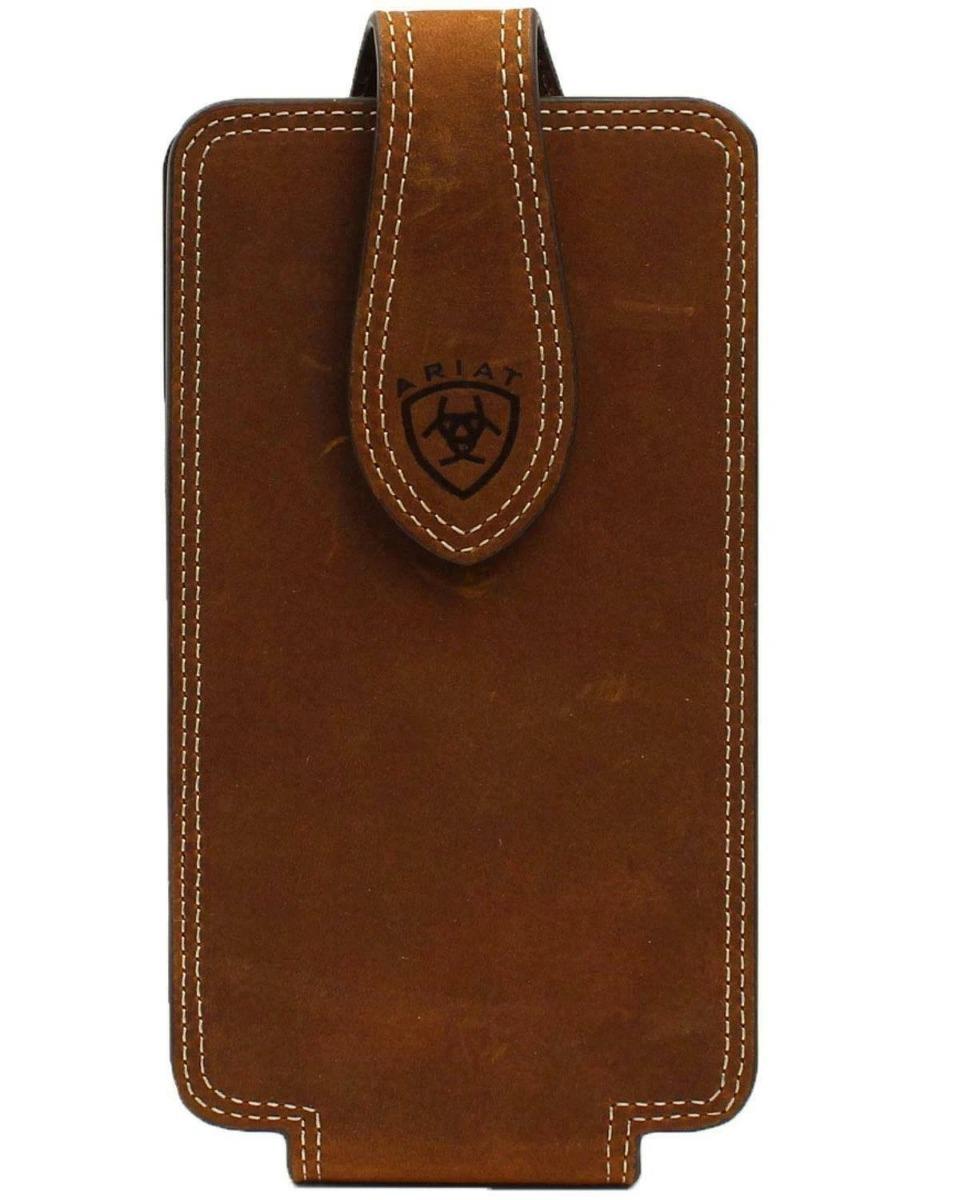 ARIAT Medium Brown Leather Double Stich Deboss Signature Ariat Logo