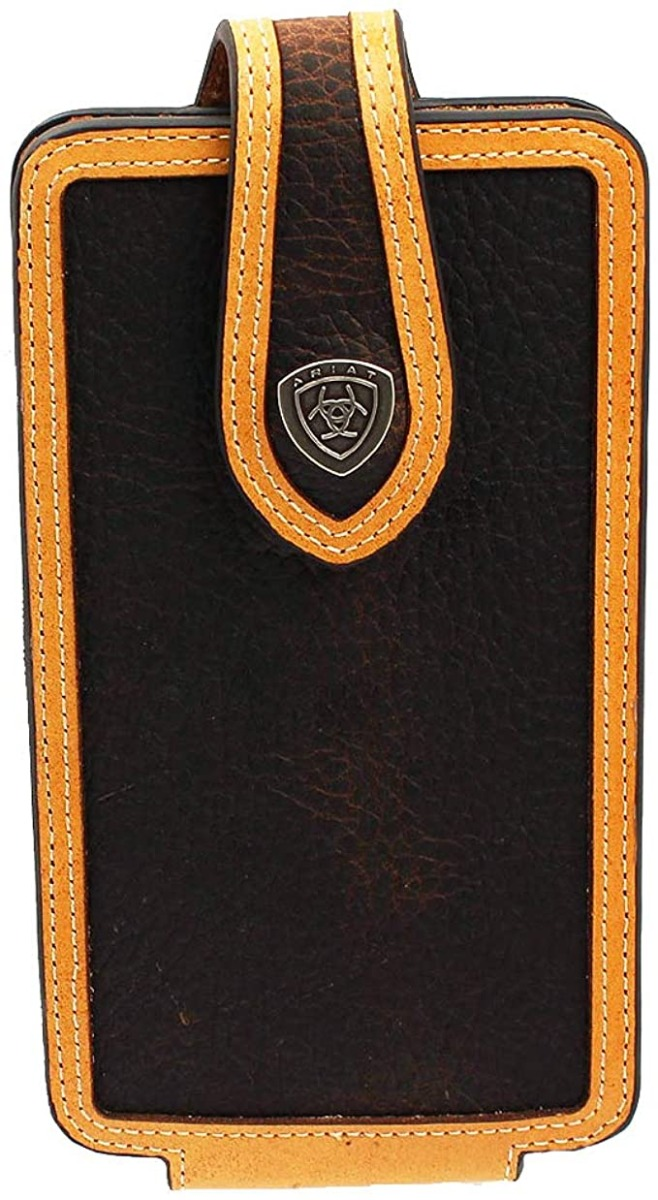ARIAT BRN/TAN Rowdy Leather Cell Phone Case Brown