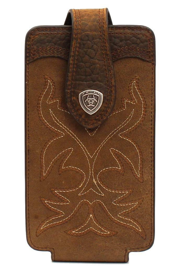 ARIAT Leather Fancy Stitch Magnet Cell Phone Case