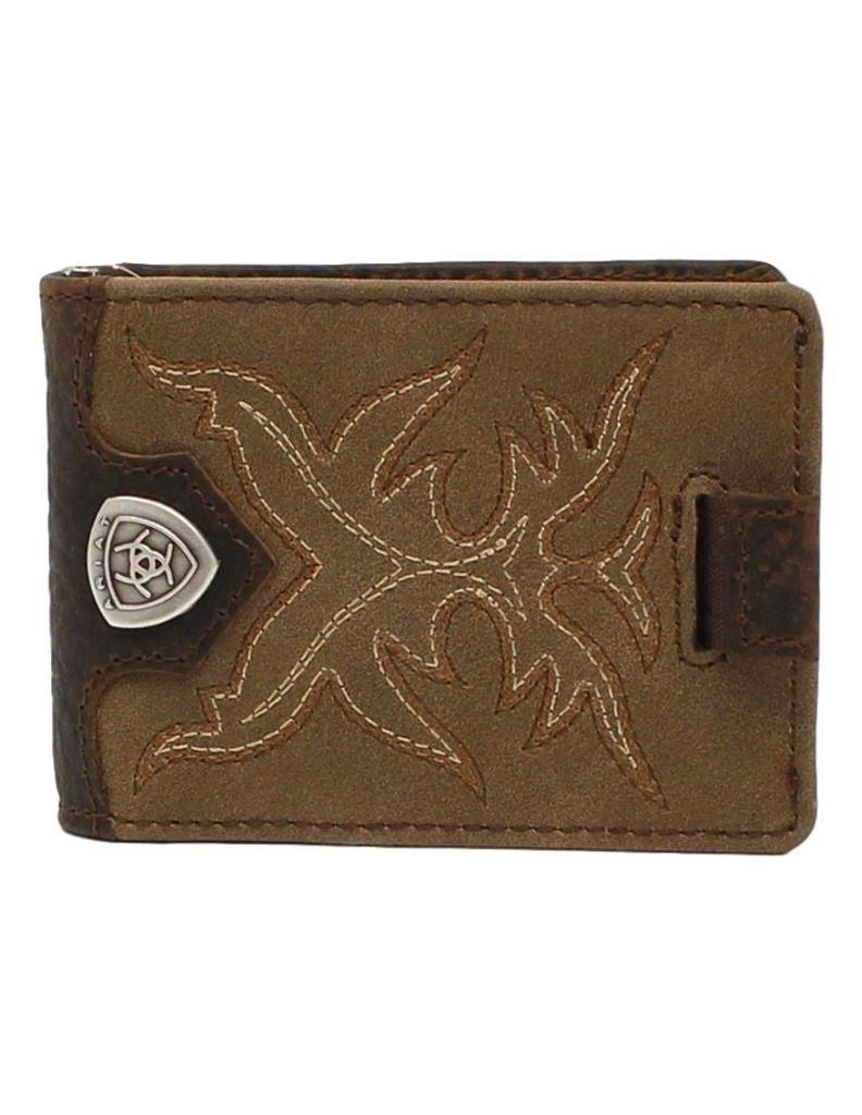 ARIAT Men's Bifold Boot Stitch Money Clip