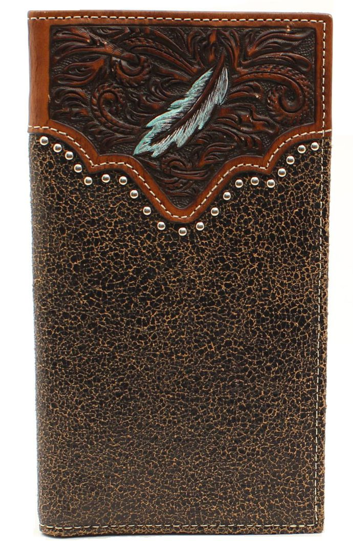 ARIAT Men's Painted Feather Nail head Rodeo Wallet, tan