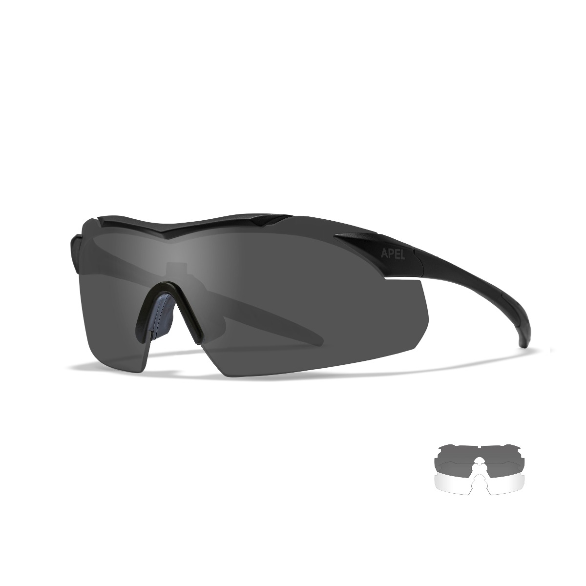WILEY X Grey/Clear Vapor APEL Safety Glasses w/Black Frame - Size Small
