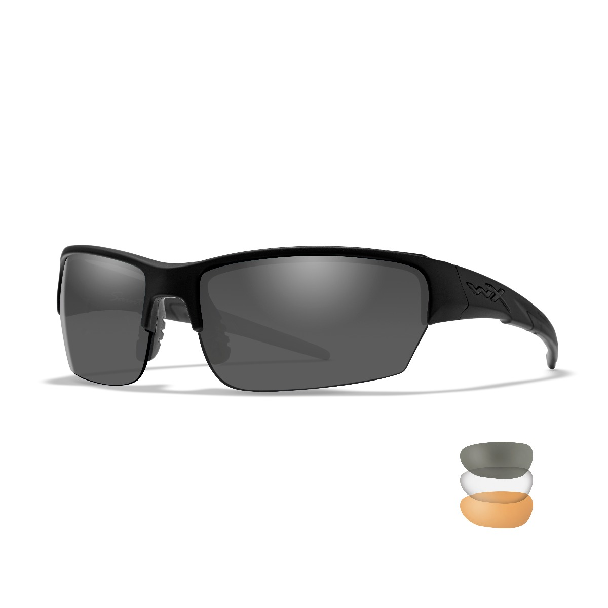 WILEY X WX Saint Sunglasses, 3 Lens Package, 1 Matte Black Frame w/Smoke Grey, Clear, Light Rust Lens