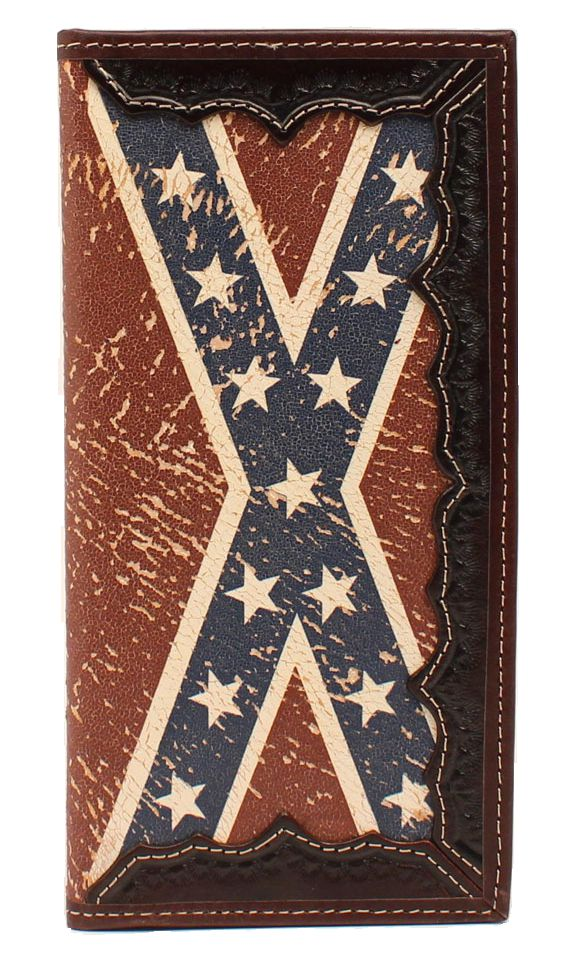 3D Tan Western Hand Tooled Vintage Flag Leather Men's Rodeo Wallet