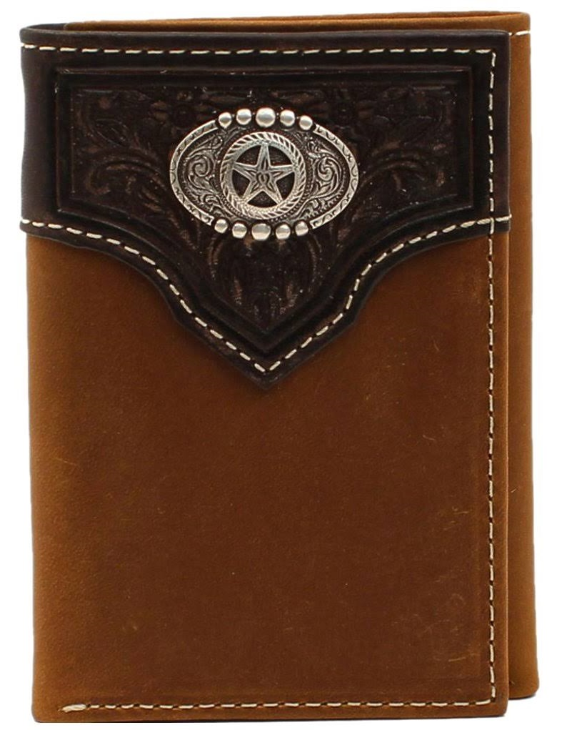 NOCONA Western Wallet Men's Trifold Oval Star Concho Brown