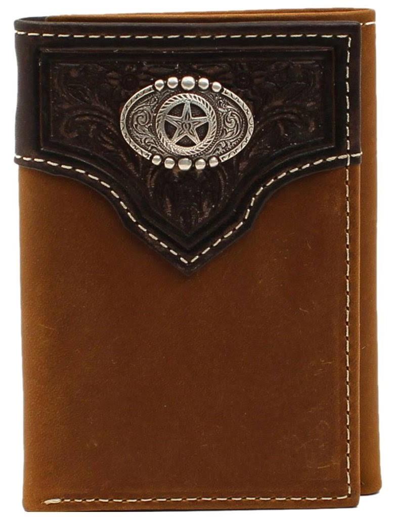 NOCONA Western Wallet Men's Rodeo Oval Star Concho Brown
