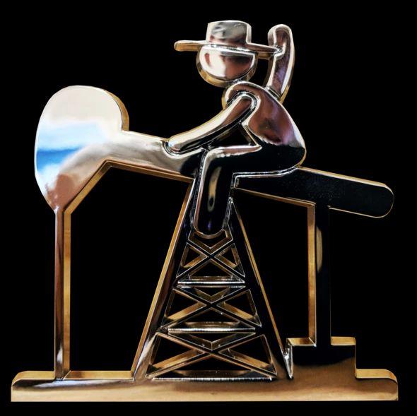Oilfield 3 x 3 Chrome PJ Cowboy Emblem