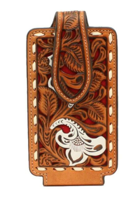 NOCONA Leather Floral Embossing White Red Underlay Ivory Buck Lace Edges Swivel Clip Fold Over Strap with Magnetic Closure