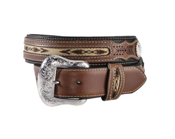 Nocona Genuine Leather Belt Black/Brown Silver Emblem